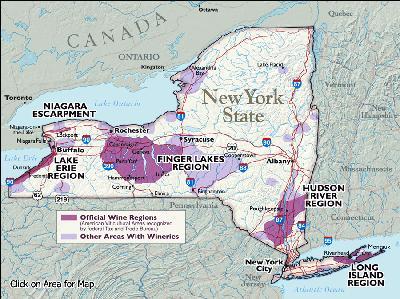 Nowy Jork Mapa Mapa Winiarska Stanu Nowy Jork