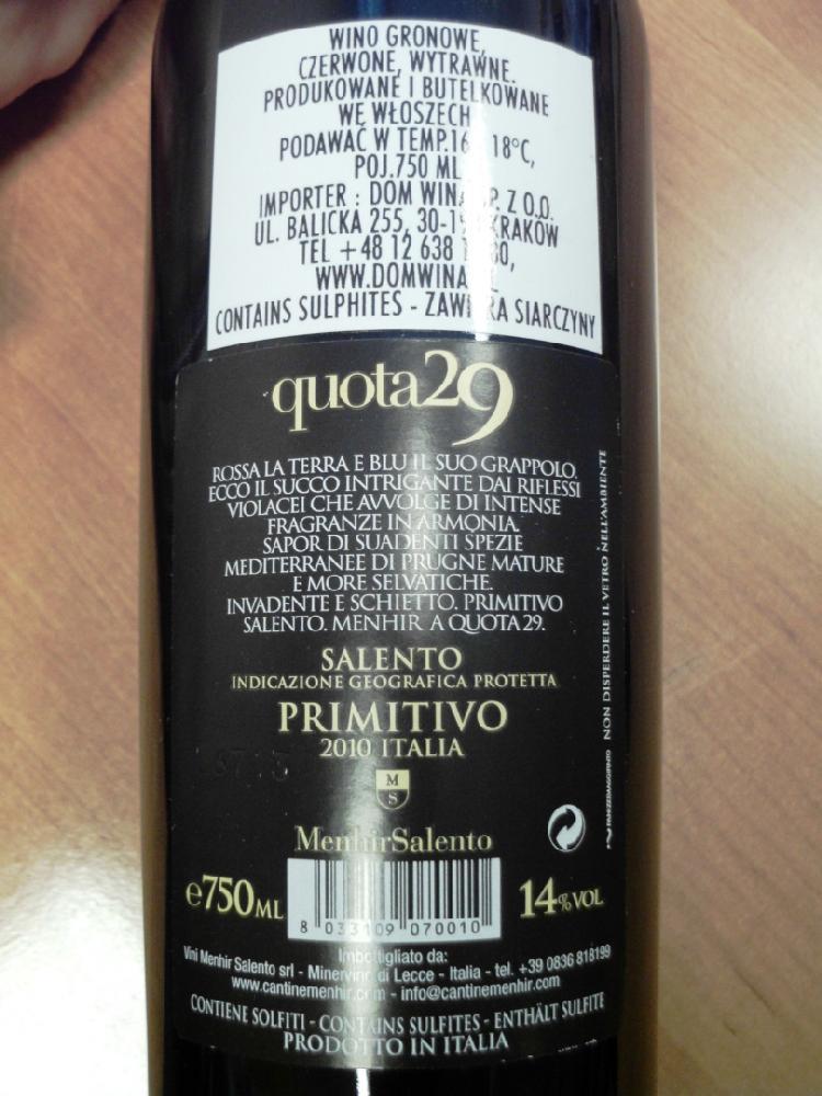 Quota 29 Primitivo IGP Salento Cantine Menhir 2010 / Wino / Nasze Wina